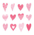 set hearts pink color vector image vector image