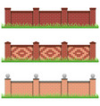 set of brick stone fences for farm manor or garden vector image vector image