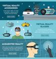 set of three horizontal virtual reality banners vector image vector image