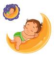 small bain a diaper asleep using a moon vector image