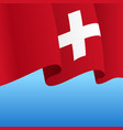 swiss flag wavy abstract background vector image vector image