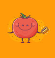 tomato vegetable character with credit card vector image