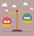 Value and Price balance on the scale vector image vector image