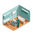 vet clinic isometric composition vector image vector image
