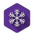white snowflake icon isolated with long shadow vector image vector image
