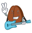with guitar coffee bean mascot cartoon vector image vector image
