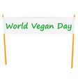 world vegan day banner icon flat style vector image