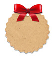 Xmas Label With Red Bow vector image