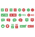yes or no icons tick and cross signs checkmarks vector image