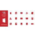15 textbook icons vector image vector image