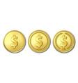 3d realistic golden metal dollar coin icon vector image vector image