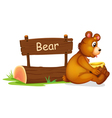 A bear sitting beside a wooden signage vector image vector image
