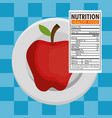 apple with nutrition facts vector image vector image