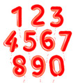 baloons numbers set red air balls for decoration vector image