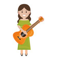 beautiful mexican woman playing guitar vector image