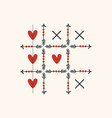 black and red tic tac toe game with arrows heart vector image