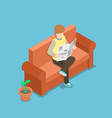 Businessman reading a newspaper on the sofa vector image vector image