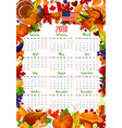 calendar template with thanksgiving holiday frame vector image