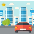 Car infront of the building vector image