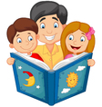 Cartoon father reading with his children vector image vector image