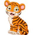 cartoon smiling baby tiger sitting vector image