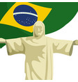 christ redeemer with brazilian flag vector image