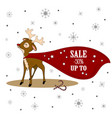 christmas sale xmas deer with banner vector image vector image