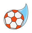 color image cartoon soccer ball with speed vector image vector image