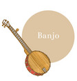 colored banjo in hand-drawn style vector image vector image