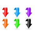 colored down 3d buttons vector image vector image
