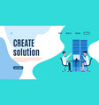 create solution landing page man and woman vector image