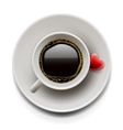 Cup of coffee top view Valentines day vector image