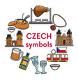 czech republic famous landmarks symbols vector image