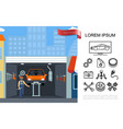 flat auto maintenance shop concept vector image