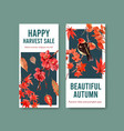 flyer template with autumn forest and animals vector image vector image