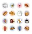 Food comics icons set vector image vector image