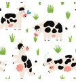 funny countryside seamless pattern with cute cows vector image vector image