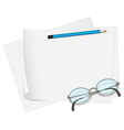 Glasses and paper vector image vector image