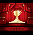 golden winner cup and red stage curtain vector image vector image
