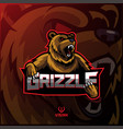 grizzly sport mascot logo design vector image