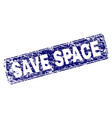 grunge save space framed rounded rectangle stamp vector image vector image