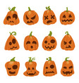 halloween holiday funny and spooky pumpkin set vector image