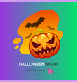 halloween night greeting card with pumpkin vector image vector image