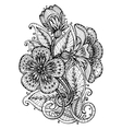 Hand drawn fancy flower branch and leaves vector image