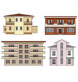 house front view set city building facade vector image