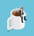 isometric business sitting on coffee cup and vector image