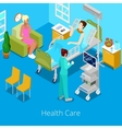 Isometric Hospital Room with Patient and Nurse vector image vector image