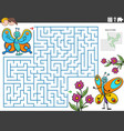 maze educational game with cartoon butterflies vector image vector image
