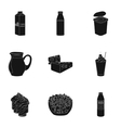 Milk product and sweet set icons in black style vector image