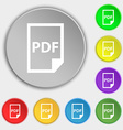 PDF Icon sign Symbol on eight flat buttons vector image